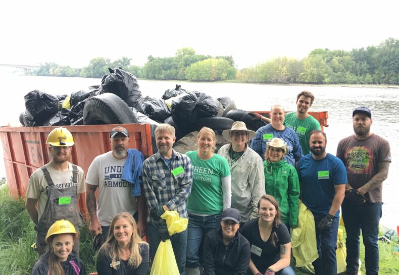 27th Annual Great Mississippi Riverboat Cleanup Success: Conservation Corps Minnesota engaged 111 volunteers this Tuesday, 9/18/18 to remove over 2 tons of trash from the Mississippi River